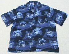 George Blue White Rayon Hawaiian Dress Shirt Button Up Short Sleeve Size Large