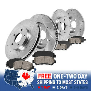 For 2011 - 2015 Honda CR-Z Front+Rear Drilled Slotted Brake Rotors Ceramic Pads