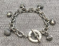 Lagos Caviar Heart Charm Toggle Cable Chain Sterling Silver Bracelet 7.5""