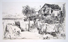 "JOHN W. WINKLER Signed 1919 Etching - ""Fisherman's Home on Telegraph Hill"""