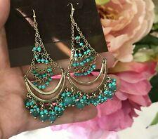 $295  Alexis Bittar Fancy Green Turquoise Jade Chandelier Earrings Gold