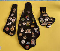 36 Vintage Iowa Lions Club Hat Lapel Pin Collection Mounted On Goat Skin Leather