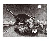Cat in Kitchen With Blender Juicing Kliban Cat Print Black White Vintage