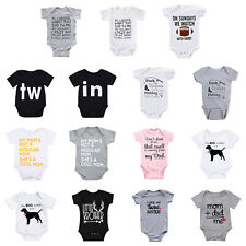 Newborn Infant Baby Boy Girl Letter Romper Bodysuit Jumpsuit Clothes Outfit Lots