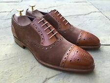Barker Dover Brogue Tan Cedar Calf Suede UK 9F B.N.I.B