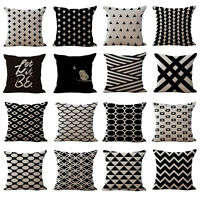 18'' Fashion Black Beige Grid Wavy Cross Cushion Cover Home Sofa Pillow Cover