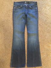 "Womens JEANS 7 FOR ALL MANKIND ""A"" Pocket Medium Blue Lite Fade Low Rise Sz 26"