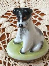 Peint Mein Limoges France Porcelain Jack Russel Fox Terrier Dog Trinket Box