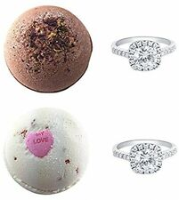 Bath Bombs With A Surprise Ring Inside - Gift Set Of 2 Ultra Lush Fragrant - In