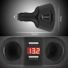 Dual USB Car Charger LCD Cigarette Lighter Socket Adapter Voltmeter for Phone