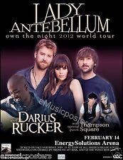 "LADY ANTEBELLUM ""OWN THE NIGHT 2012 TOUR"" SALT LAKE CITY CONCERT POSTER"