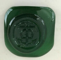 Retro Scandinavian Heavy Pressed Green Glass SHIP'S ANCHOR DESIGN Paperweight