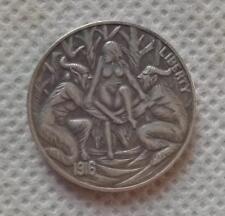 Hobo Nickel Coin 1916-D BUFFALO NICKEL 2 DEVILS AND GIRL COIN