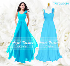 Formal Chiffon Long Evening Ball Gown Party Prom Wedding Bridesmaid Dress UK Turquoise 10 - 12
