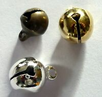 50 gold or silver plated or antique bronze metal small jingle bells 6mm and 8mm