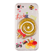 iPhone 7 Lollipop Candy Style Liquid Star Dust Case (Gold) + Free Earbuds!