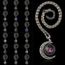 Dreamcatcher Galactic Glass Cabochon Pendant Silver-Tone Crescent Moon Necklace