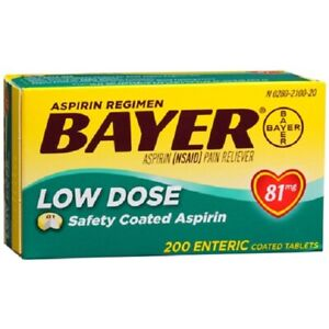 Bayer Low Dose 81 mg Safety Coated Aspirin Tablets 200 ea exp 1/2022+