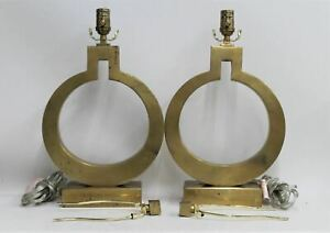 VISUAL COMFORT EF Chapman Brass Ring Keyhole Indoor Table Lamps Pair 120V