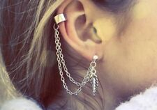 Festival Party Luxury Boutique New Uk Silver Leaf Chain Fashion Ear Cuff Boho