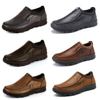 Men Winter Casual Leather Loafers Antiskid Driving Moccasins Breathable Shoes