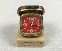 Vintage Linden Travel Alarm Clock Wind Up Germany Rare Red Color Floral With Box