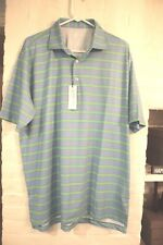 NWT Turtleson Tour Performance L Imperial Bar Stripe Poly/Spandex SS Golf Shirt