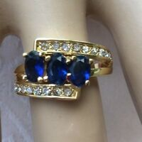 Vintage Jewellery Gold Ring with Blue White Sapphires Antique Deco Dress Jewelry