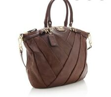 AUTH COACH MADISON LINDSEY DK BROWN LEATHER LARGE 2-WAY SATCHEL/HOBO # 18634