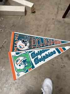 Lot Of 2 Miami Dolphins Football Pennants Nice 1980's 90's