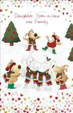 Boofle Daughter Son-In-Law & Family Christmas Card Foiled Xmas Cards