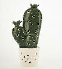 Bomboniera Cactus in Ceramica Smaltata Verde con Luce LED Gialla Art 28324