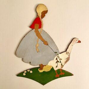🚬 1930er Laubsägearbeit 25cm Mertens-Kunst Mädchen SHABBY CHIC Antik Figur ALT