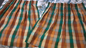 Vintage Mid Century 60s-70's Two (2) Plaid Curtains Triple Pinch Pleat Plaid