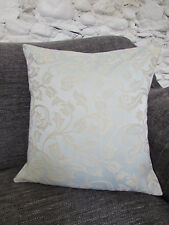 Pretty Cushion Cover, Pale Duck Egg Blue, Cream, Floral, Silky, Patterned.