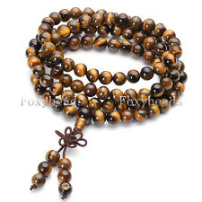 "Rare Natural Tiger's Eye Stone Beads Dual-use Necklace Bracelet Jewelry 34""L HOT"