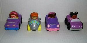 4 Fisher Price Little People Wheelies Racers Race Track replacement cars Lot 5