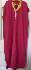 Pink Egyptian cotton gold embroidered  caftan- One Size- New!