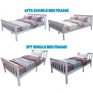 Wooden Single Bed & Double Bed Frame Solid Pine Slats Bedroom Furniture