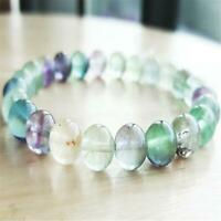8mm Rainbow Fluorite Beads Handmade Mala Bracelet Religious Classic Spirituality