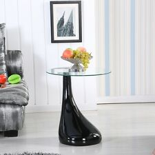 Modern Black Lamp Shape Coffee Table Side End Table with Clear Glass Living Room