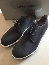 New $575 Giorgio Armani Suede Shoes Brown Size 5 ( 38 Eur ) Anthracite Italy