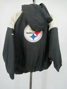 H1280 Reebok Pittsburgh Steelers NFL-Football Hood Windbreaker Jacket Size L