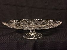 Vintage Clear Cut Glass Pedestal Footed Cake Plate Stand