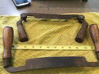 "Antique  6"" Draw Knife Drawknife Folding Handles  PAT JULY 10 1895 .1   7"" OHIO"