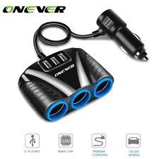 3 Puerto USB Encendedor de Cigarrillos para Coche Splitter Adaptador de Alimentación 12V-24V para Smart