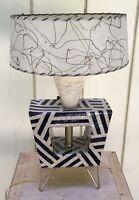 Handmade, Atomic, MCM-style Ceramic Lamp With Fiberglass Shade & Hairpin Legs