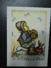 alte Postkarte Bub macht Musik  Kartenfarbe altweiß beige