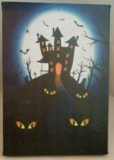 Halloween Haunted House Bat Table Wall Decor Picture Light Up 8.5x6""