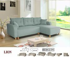 new LION fabric corner sofa bed settee with storage in grey, pink, blue or beige